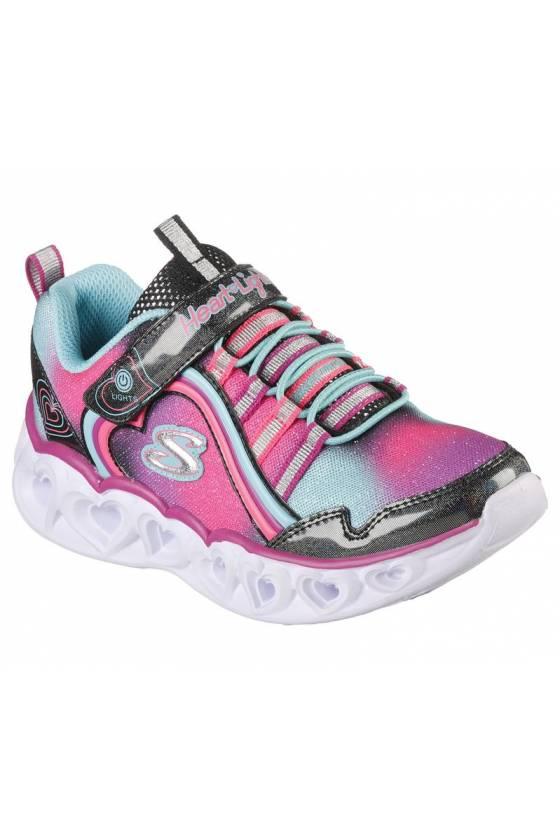 Zapatillas Skechers Heart Lights Rainbow Lux para niños 302308L-BKMT - msdsport