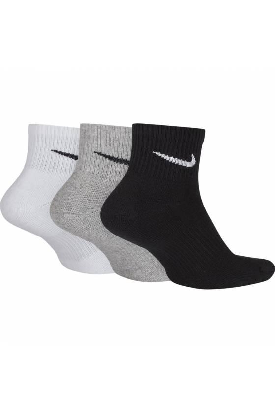 Calcetines NIKE Cushion Quarter 3 Pack white/gray/black-masdeporte